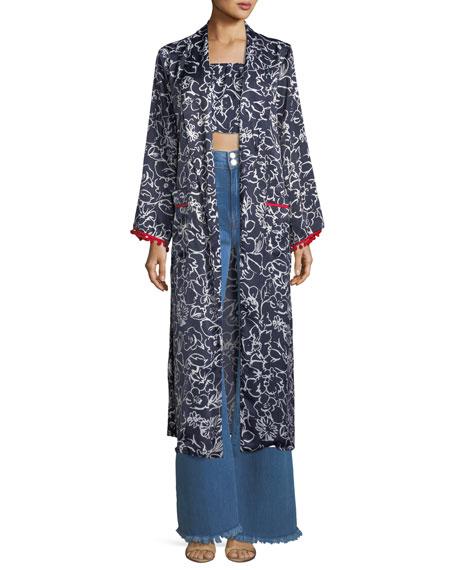 MISA Los Angeles Malini Floral-Print Satin Kimono Duster