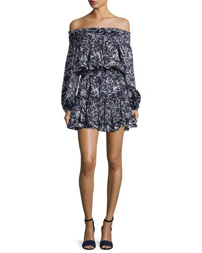 Darla Off-the-Shoulder Floral-Print Satin Mini Dress