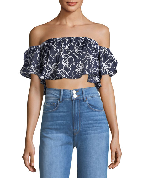 MISA Los Angeles Lunna Off-the-Shoulder Floral-Print Satin Crop