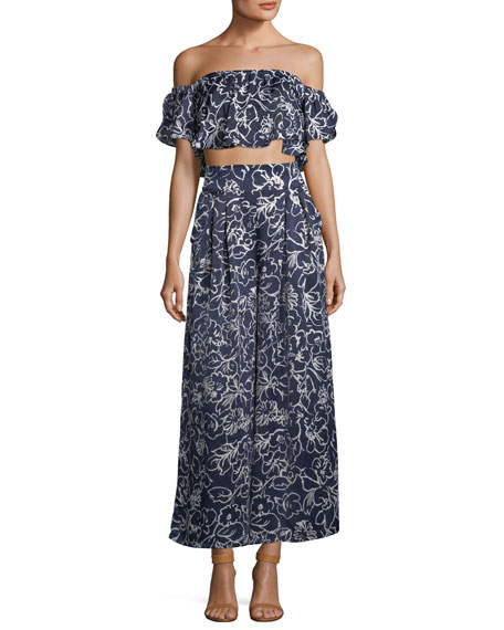 Sedona Printed High-Waist Wide-Leg Satin Pants