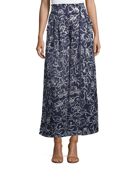 MISA Los Angeles Sedona Printed High-Waist Wide-Leg Satin