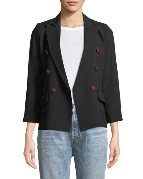 Double-Breasted Mini Crepe Blazer
