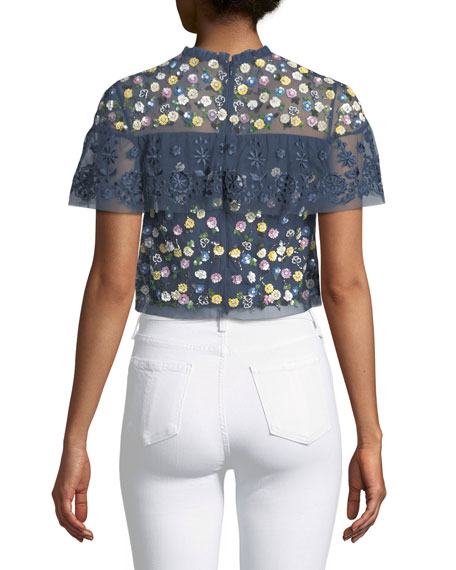 Tiered Anglais Floral-Embellished Cocktail Top