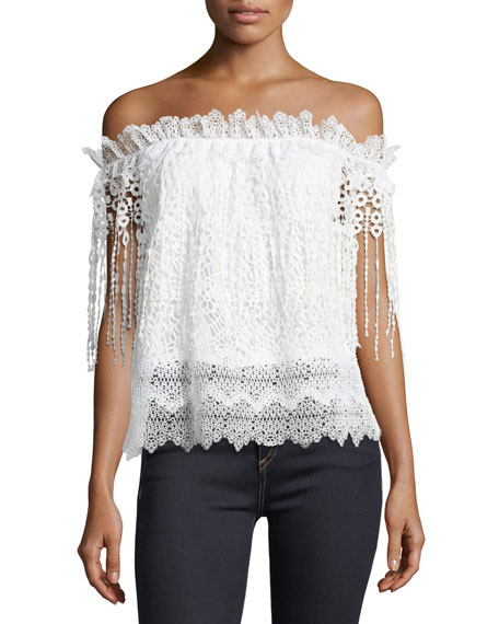 Elie Tahari Clarissa Off-the-Shoulder Lace Blouse