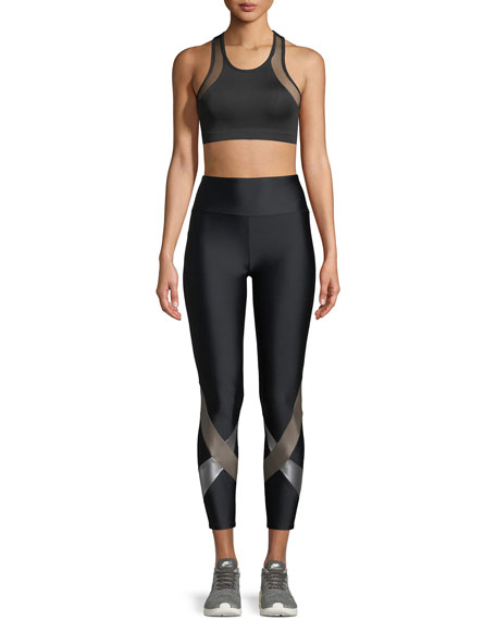 Yuri High-Waist Metallic Cross Cropped Leggings