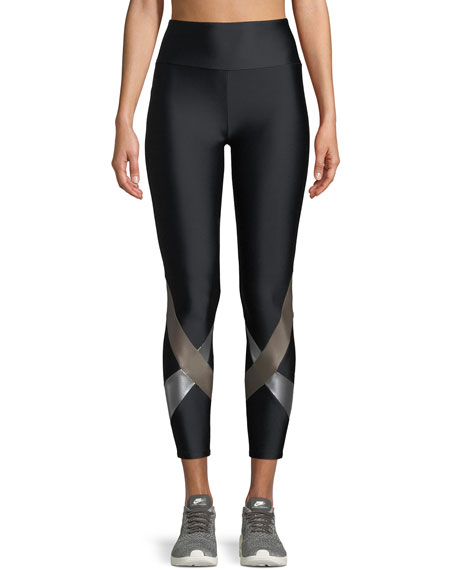 Lanston Yuri High-Waist Metallic Cross Cropped Leggings
