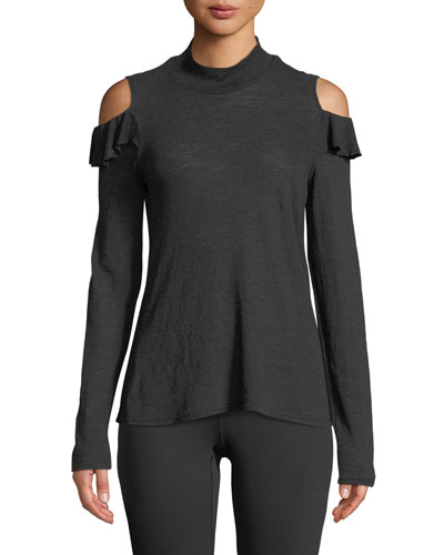 Turtleneck Ruffle Cold-Shoulder Top