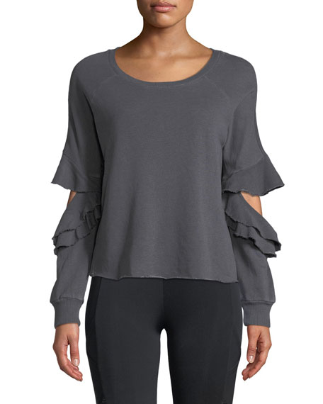 Lanston Ruffle Cutout French-Terry Pullover Sweatshirt