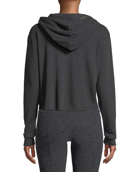 Lover Script Crop Hooded Sweatshirt