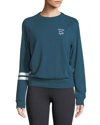 Ell Crewneck Old School Pullover Sweatshirt with Stripes