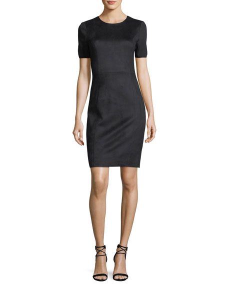 Elie Tahari Emily Short-Sleeve Faux-Suede Sheath Dress