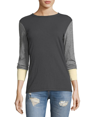 Long-Sleeve Colorblocked Cotton Tee