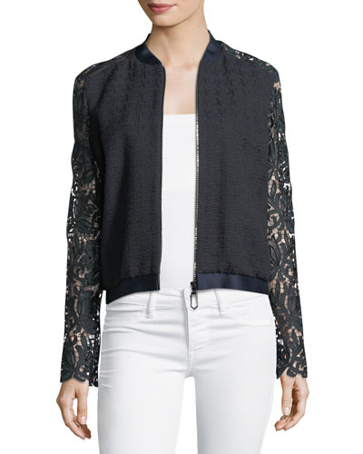 Brandy Lace-Sleeve Bomber Jacket