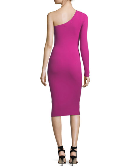 One-Sleeve Body-con Knit Cocktail Dress