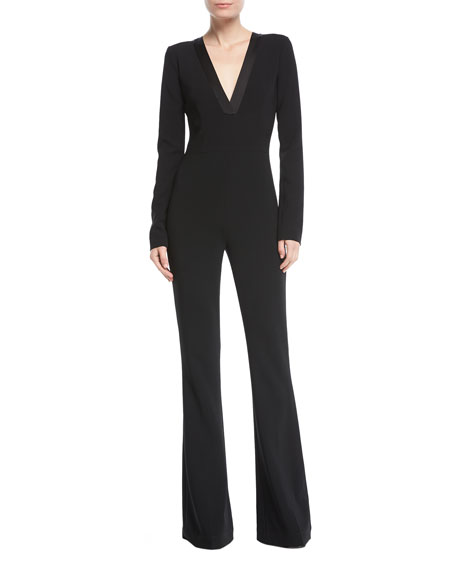 Deep-V Long-Sleeve Bellbottom Crepe Jumpsuit