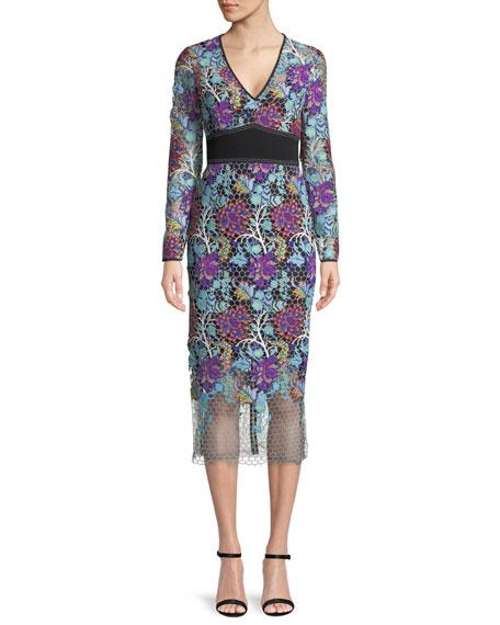 Diane von Furstenberg Long-Sleeve Banded Overlay Lace Midi-Length