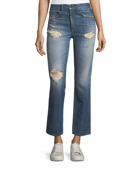 rag & bone/JEAN Distressed Cropped High-Rise Straight-Leg Jeans
