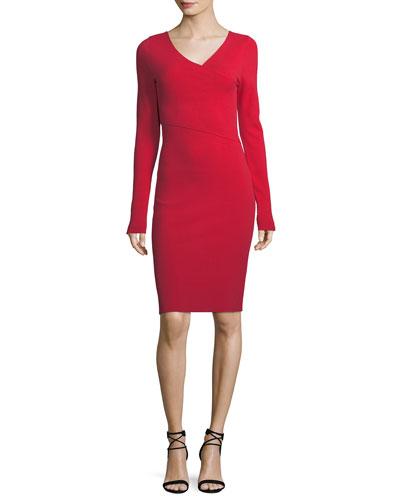 Long-Sleeve V-Neck Knit Dress