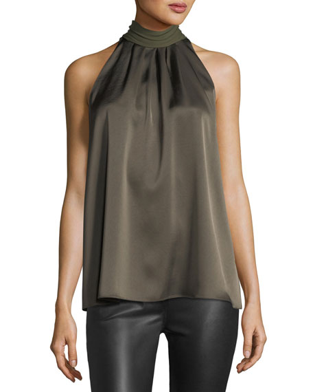 Diane von Furstenberg Sleeveless High-Neck Blouse