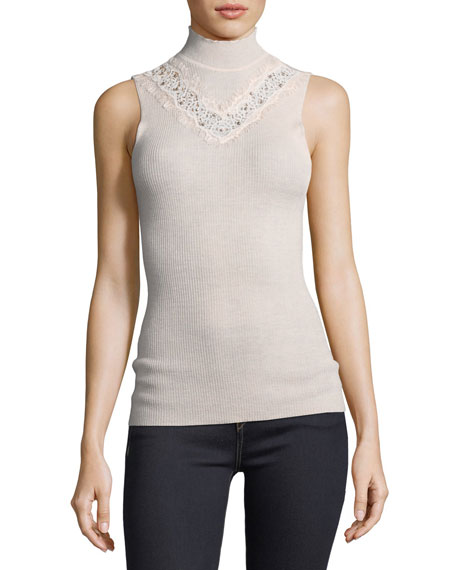 Cheresia Sleeveless Lace-Trim Sweater