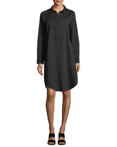 Long-Sleeve Soft Twill Henley Shirtdress, Petite