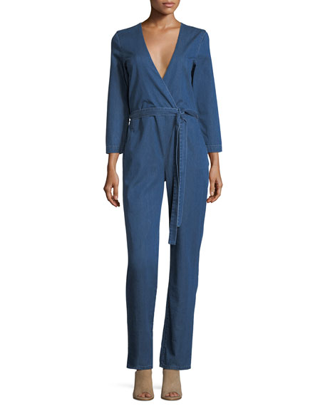 3x1 Moxy Surplice Straight-Leg Denim Pantsuit