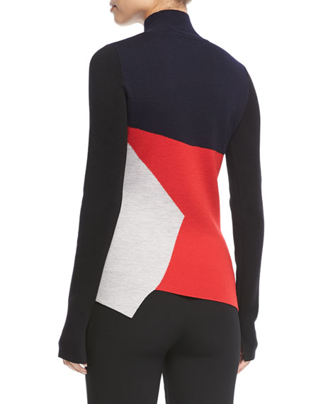 Colorblocked Turtleneck Pullover Sweater