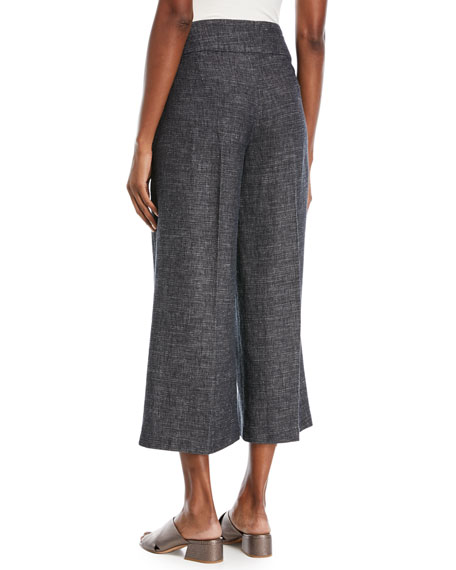 Tweedy Cropped Wide-Leg Pants