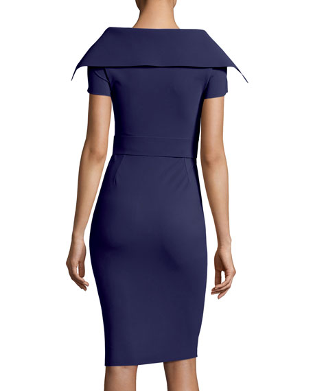 Aura V-Neck Sheath Belt Cocktail Dress