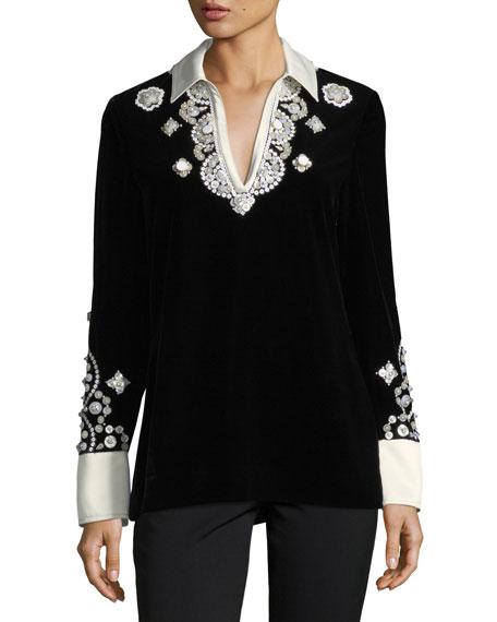 Tory Burch Hadley Plush-Velvet Embroidered Tunic