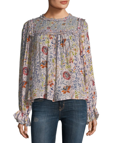 Malia High-Neck Floral-Print Top