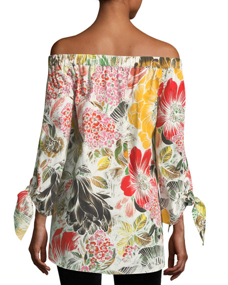 Floral-Print Off-the-Shoulder Poplin Tunic