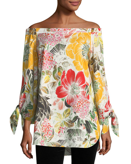 Fuzzi Floral-Print Off-the-Shoulder Poplin Tunic