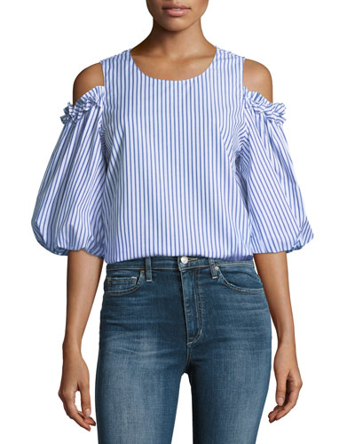 Bruna Scoop-Neck Cold-Shoulder Striped Poplin Top