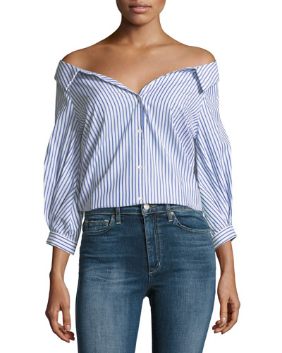 Rosetta Off-the-Shoulder Button-Front Striped Poplin Top