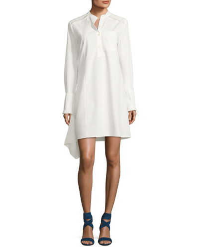 Long-Sleeve Poplin Shirtdress with Ruffle Detail