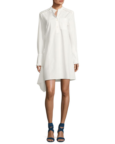 Derek Lam 10 Crosby Long-Sleeve Poplin Shirtdress with