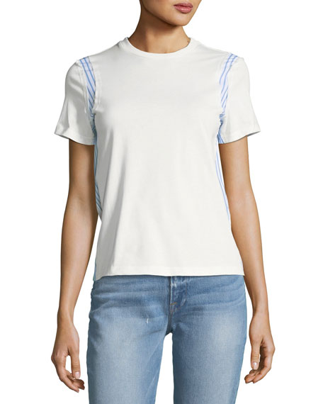 Derek Lam 10 Crosby Mixed-Media Crewneck Short-Sleeve Cotton