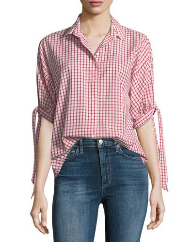 Priya Grid-Print Button-Front Cotton Shirt