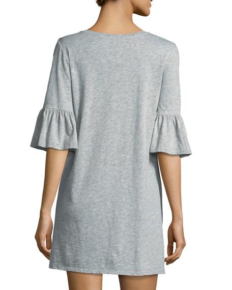 Anabelle Crewneck Half-Sleeve Cotton Dress