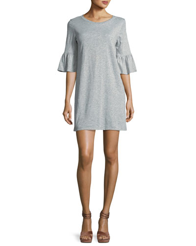 Anabelle Crewneck Half-Sleeve Cotton Dress