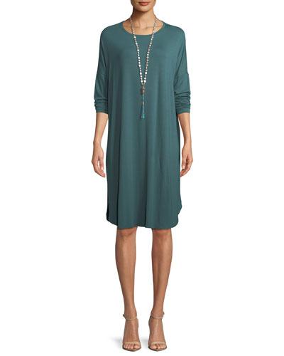 Long-Sleeve Boxy Jersey Knee-Length Dress, Petite