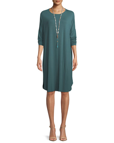 Eileen Fisher Long-Sleeve Boxy Jersey Knee-Length Dress, Petite