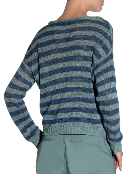 Striped V-Neck Linen Sweater