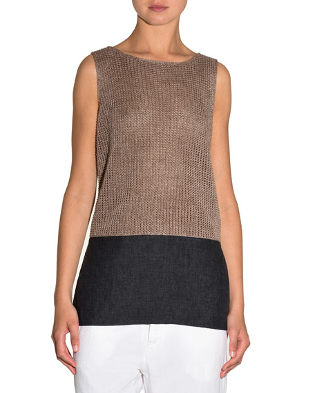 Knit Colorblock Sleeveless Top