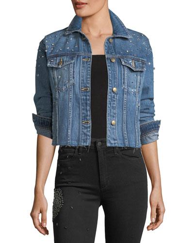 The Boyfriend Embellished Cropped Denim Jacket