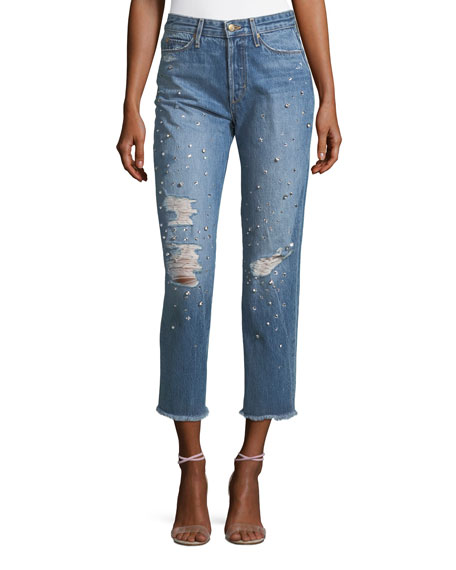 The Smith Embellished High-Rise Straight-Leg Ankle Jeans