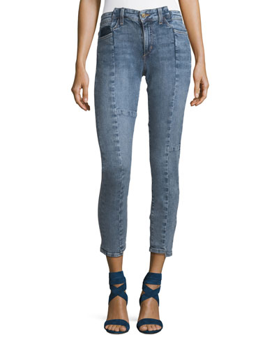 The Smith Skinny-Leg Ankle Jeans with Deconstructed Panels