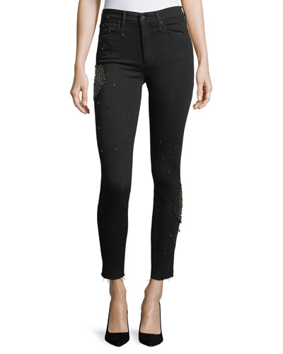 The Charlie Skinny-Leg Ankle Jeans with Embellishments