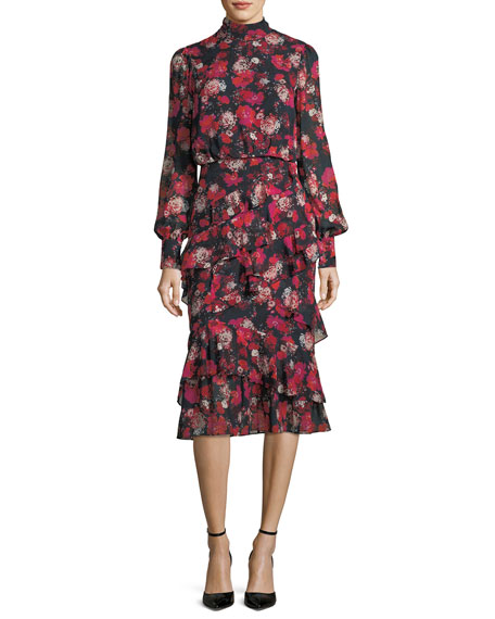 Isa Mock-Neck Floral-Print Silk Midi Dress
